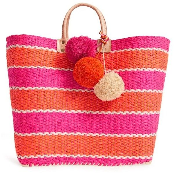 Mar y Sol 'Capri' Woven Tote with Pom Charms (£94) ❤ liked on Polyvore featuring bags, handbags, tote bags, purses, beach bags, pink, pink tote, hand bags, pink tote bag and tote handbags