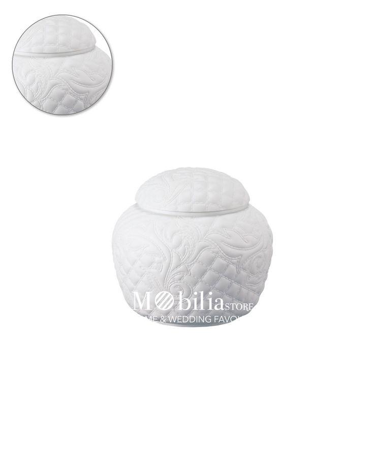 Scatola bianca Vanitas Versace, fine porcellana bianca con decori.