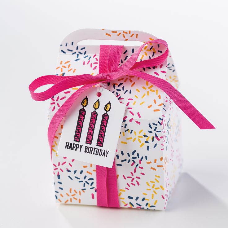 This darling treat box was made using the new Sprinkles of Life stamp set.  This versatile set makes darling cards and more, and coordinates with a new builder punch.