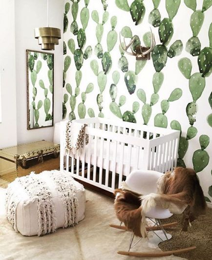 Truly cannot get over this awesome cactus wallpaper accent wall! |