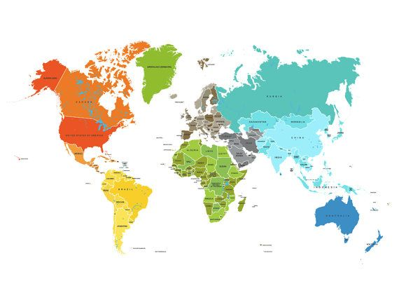 World Map Poster Country Names X Other Sizes Travel - World map pic with country name