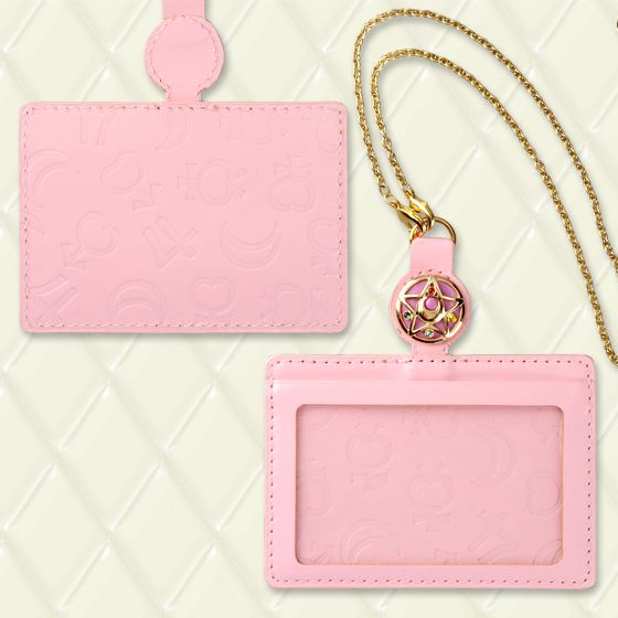 Pink leather Sailor Moon ID case. Embossed with planetary symbols and Swavorski crystal star compact charm