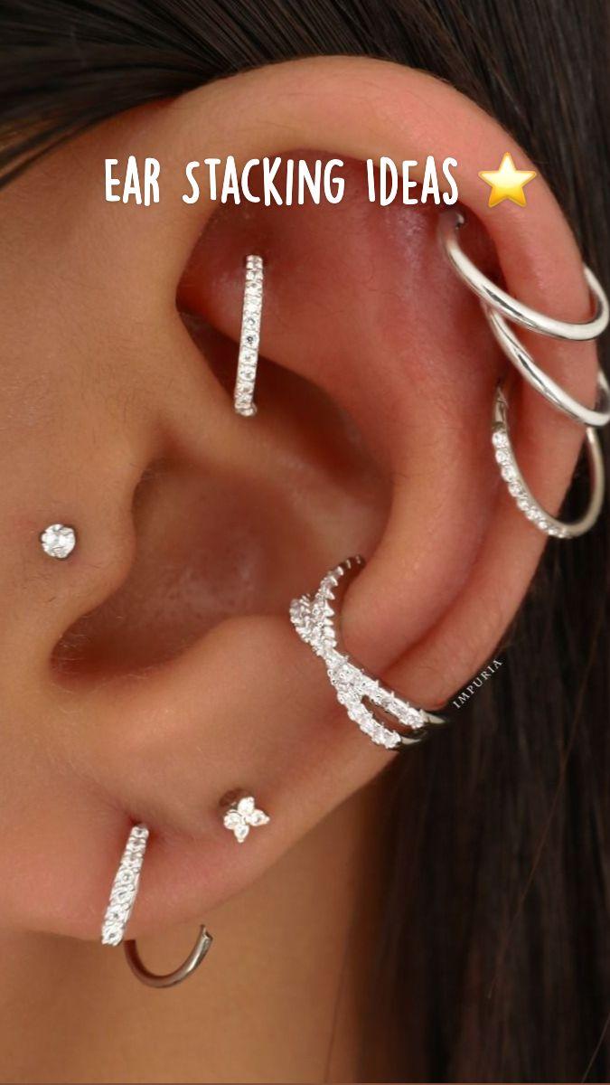 Ear Piercings Chart, Pretty Ear Piercings, Types Of Ear Piercings, Ohrknorpel Piercing, Piercing Ideas, Ear Jewelry, Body Jewelry, Ear Piercing Combinations, Cartilage Earrings