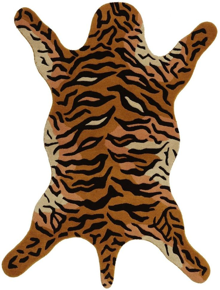 Contemporary Area Rugs Hand tufted Tiger Orange Wool Rug x