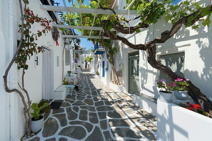 The morning sun creates amazing picture sports through Paros island's alleys