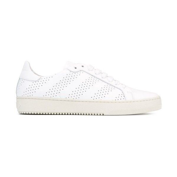 Off White Drilled Sneakers ($206) ❤ liked on Polyvore featuring shoes, sneakers, champagne shoes, off white sneakers, off white shoes and vintage white shoes