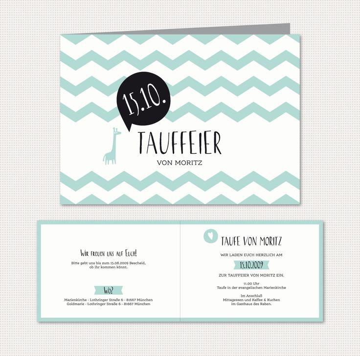 Herzlichst - Schönes auf Papier | Babykarten Chevron | Einladung zur Taufe