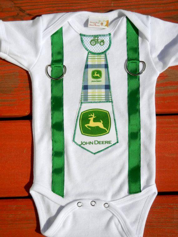 John Deere Tie and Suspender Applique Onesie or Shirt on Etsy, $18.00