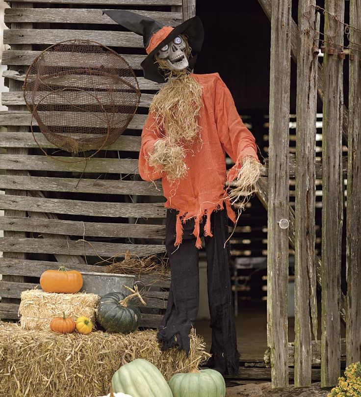 95 Amazing Outdoor Christmas Decorations: Motion-Activated Halloween Scarecrow With Sound $98.95