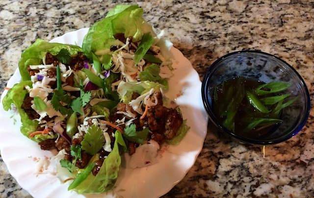 Thai Pork Lettuce Wraps with Water Chestnuts and Sesame Dipping Sauce