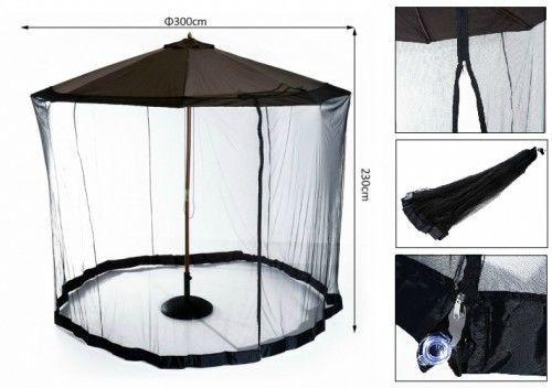 Garden Umbrella Mosquito Bug Net Patio Parasol Insect Net Cover Screen 2.3mBlack #Outsunny