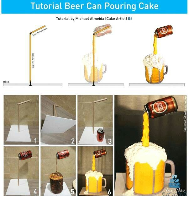 Pouring Root Beer  cake!