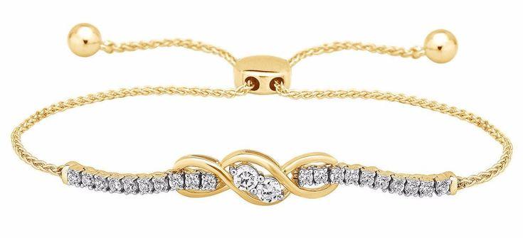 1 Ctw Natural Diamond 10K Yellow Gold Forever US Adjustable Bolo Ladies Bracelet #CaratsForYou #Tennis