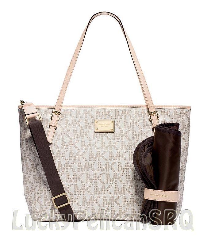 Michael Kors Jet Set Baby Diaper Bag Purse Vanilla PVC NWT