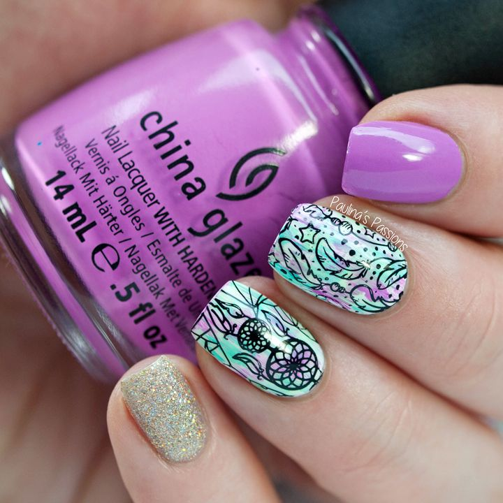 Bundle Monster Festival Stamping Plates - Dreamcatcher Nails ~ using BM-S301 plate over dry brush backround ~ by Paulina's Passions