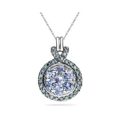 Tanzanite and Blue Diamond Royal Pendant 10k White Gold