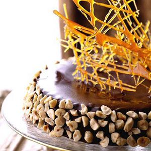 Torta d'Alassio -- A spectacular dessert! Moist chocolate cake topped with caramelized sugar shards.