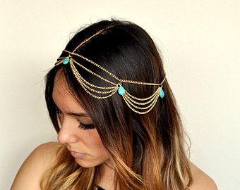 Boho Chic Lampadario in testa a catena capelli gioielli-oro/turchese