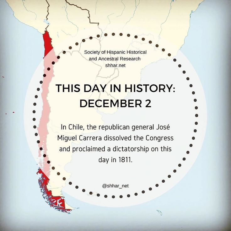 THIS DAY IN HISTORY: DECEMBER 2 In Chile the republican general José Miguel Carrera dissolved the Congress and proclaimed a dictatorship on this day in 1811.  #thisday #thisdayinhistory #november #history #hispanichistory #hispanicheritage #genealogy #shhar #somosprimos #wearecousins #hispanicgenealogy #newspain #nuevaespana #newworld #chile #josemiguelcarrera #dictator #dictatorship #chilean