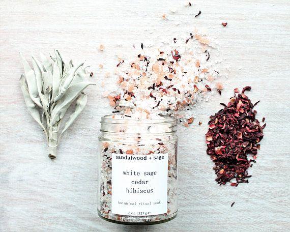 White Sage Cedar Hibiscus Ritual Bath Soak 8oz // Soaking