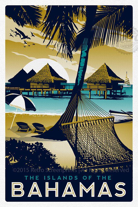 Bahamas Retro Vintage Travel Poster by RetroScreenprints on Etsy