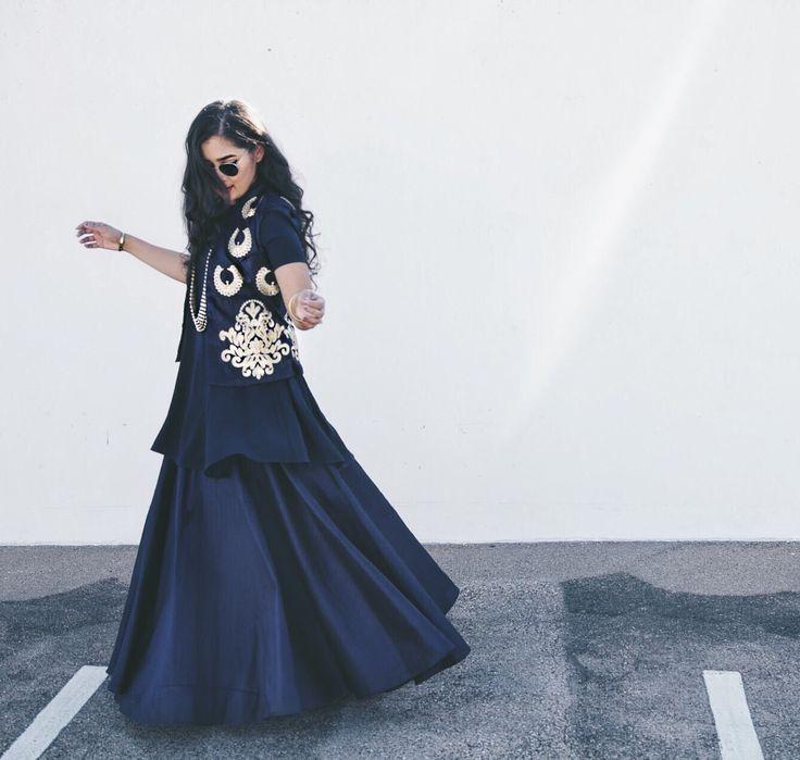 IndiaBoulevard navy lehenga skirt styled by Rida Islam #indianfashion #saree #anarkali #lehenga #bollywood #indianoutfits #indianwedding #indianweddingdress #indianweddingoutfits #custommade #designdevelopdeliver #buycustom #indiaboulevard #streetstyle