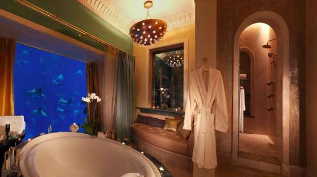Under the ocean in a luxurious hotel suite.