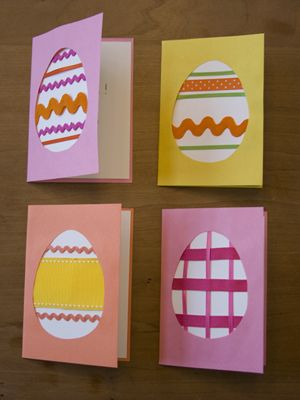 Get cracking with Easter crafts for kids: Ribbon Egg cards from A Day That Is Dessert