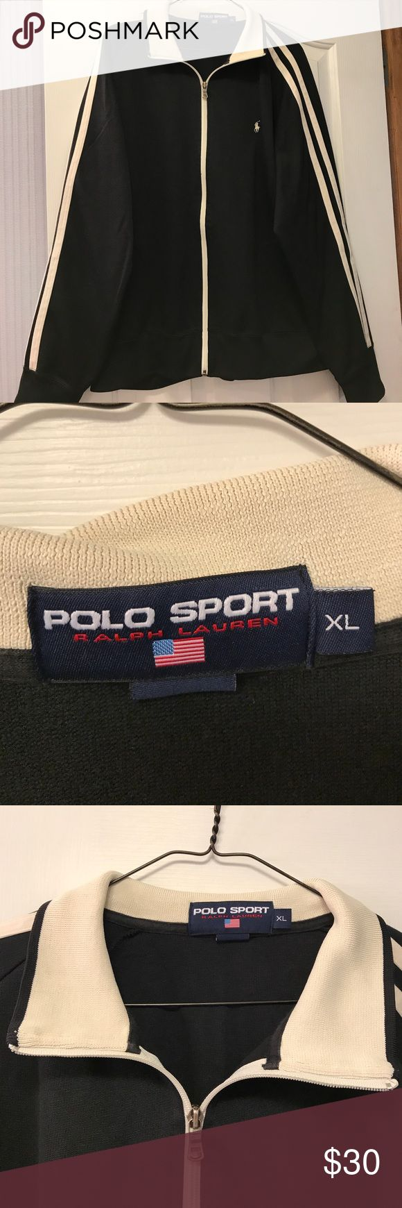 Polo sport jacket for men Black jacket with ivory stripes down outside of arms and ivory collar. Zippered front with deep side pockets. In excellent condition. Worn a few times. No stains, rips or odor. polo Sport Jackets & Coats Lightweight & Shirt Jackets