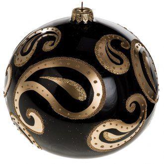 Bola de navidad vidrio soplado negro decoraciones doradas 15 cm. | venta online…