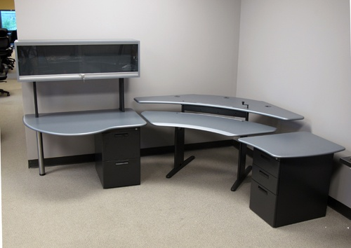 Personal Desk with extensions with Gunmetal finish