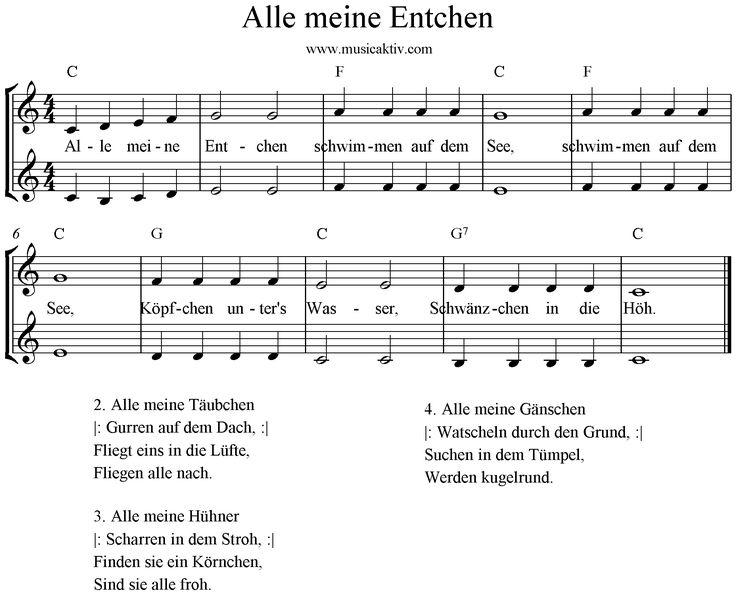 Noten Alle Meine Entchen 2 Stimmig Klaviernoten Enten