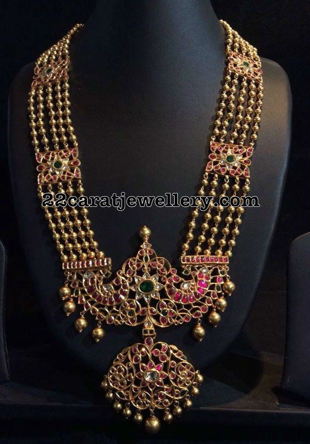 Gold Balls Long Chain Kundan Locket