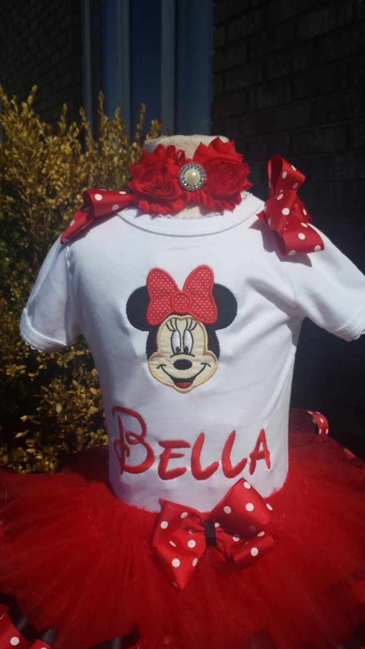 Mini mouse with number and name with matching headband by AMcutetutuboutique on Etsy (null)