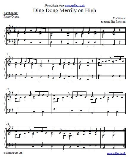 Piano Sheet Music Midi: Ding Dong Merrily On High Is A Traditional Christmas Carol