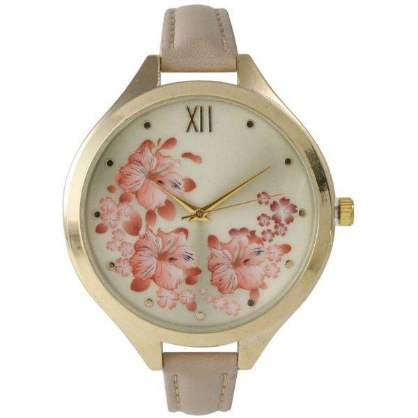 Geneva Olivia Pratt Women's Skinny Blossoms Leather Watch featuring polyvore, fashion, jewelry, watches, buckle watches, crown jewelry, bezel watches, flower watches and analog wrist watch