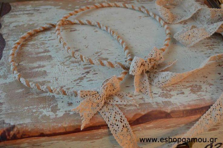 Στέφανα Γάμου Vintage Δαντέλα Δέρμα Κωδ.685405-999 - Eshopgamou.gr