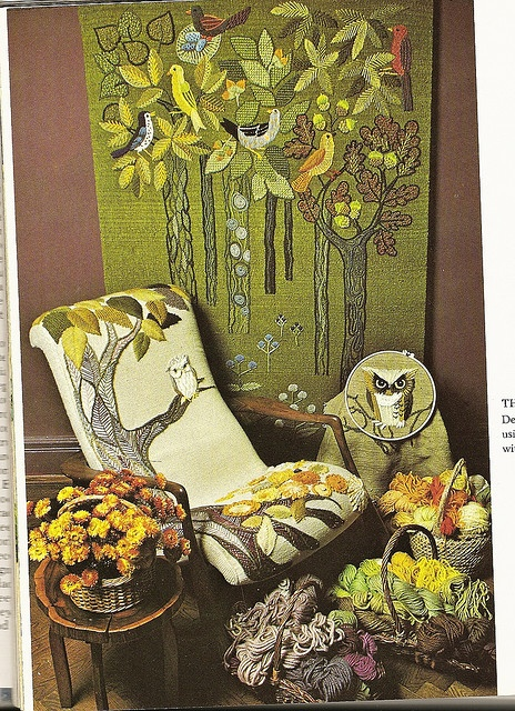This looks like a photo from an Erica Wilson book...that's her owl and I think, her chair.