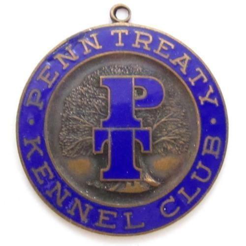Vintage Large 41Mm Blue Enamel Penn Treaty Kennel Club Medal Pendant Fob*D590