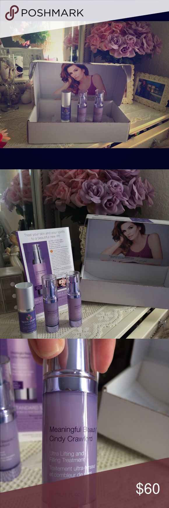 CINDY CRAWFORD AND NOVU DERM INSTANT LIFT 3 OZ.! Meaningful Beauty NWOT 2 FULL BOTTLES UNWRAPPED ONLY PUMPED ONCE ONE BOTTLE DONT LIKE...NOT AGONG I HAVE DARK UNDER EYES.  Throw in NOVU DERM a little used INSTANT LIFT AS FREEBIE! Cindy Crawford Other