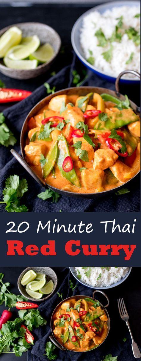 20 Minuten roter thailändischer Curry mit extra Gemüse