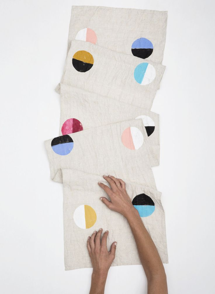 Multi Color Moon Linen Runner