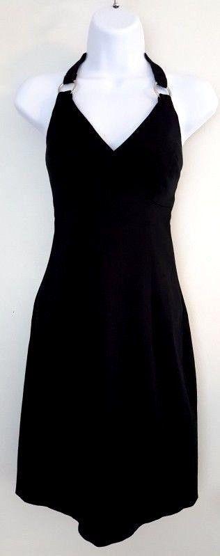 White House Black Market Women Sz 2 Black Halter Dress Pencil Above Knee Ring F9 #WhiteHouseBlackMarket #HalterPencilDress #AnyOccasion
