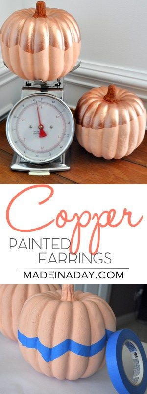 Copper Painted Pumpkins for Fall Decor,Easy tutorial to get that trendy copper look for your fall decor. copper pumpkins, metallic copper paint, foam pumpkin, peach pumpkin, glitter pumpkin,  via @madeinaday
