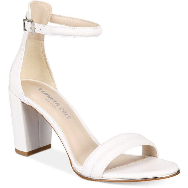 Kenneth Cole New York Women's Lex Block-Heel Sandals ($130) ❤ liked on Polyvore featuring shoes, sandals, white, white shoes, ankle wrap sandals, dress sandals, chunky heel sandals and white chunky sandals