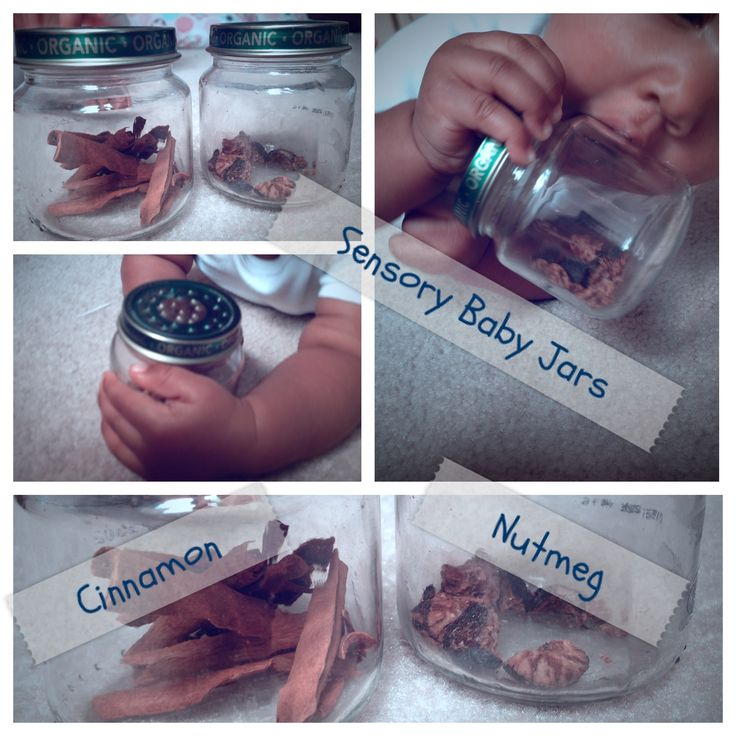 Sensory Baby Food Jars. In a Montessori home these are rotated bi-weekly along with other works. Always accessible.--- C/O happybunsbaby.com Cloth Diapers.