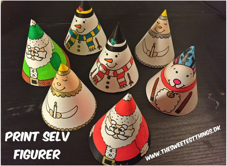 DIY: Pritable templates.  Print out and colour santa, an angel, a snowman and a reindeer.