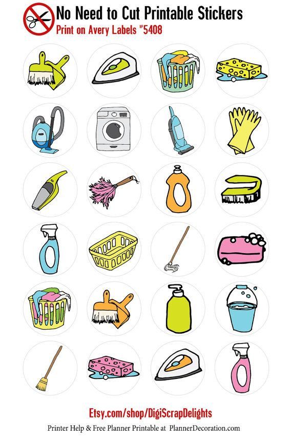 Cleaning Housework No-Cut-Needed Printable by DigiScrapDelights