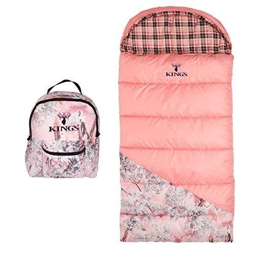 Kings Hunter Series Junior 25degree F Pink Shadow Camo Youth Durable Outdoor Sleeping Bag *** Continue to the product at the image link.(This is an Amazon affiliate link and I receive a commission for the sales)