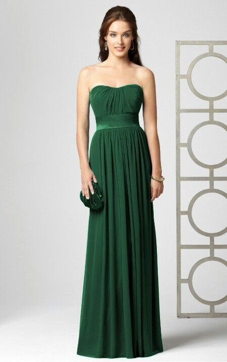 Long Dark green bridesmaids dresses